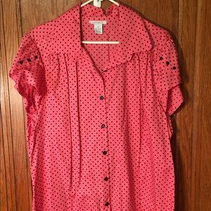 Women pink polkadot blouse